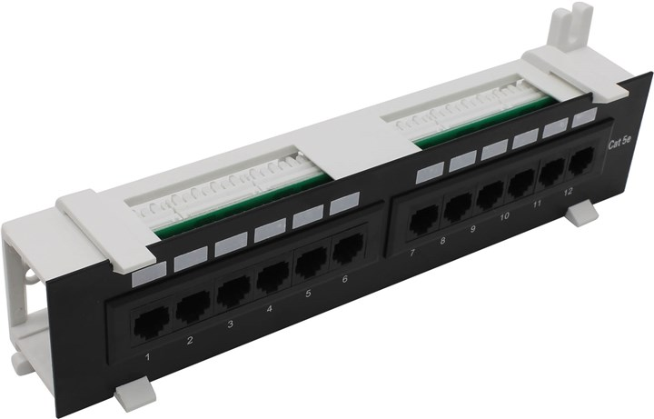 Коммутационная панель NEW Patch Panel UTP 12 port кат.5e настенная, разъём KRONE&110 (dual IDC) .